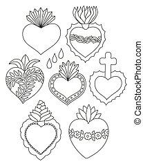 coeur, vecteur, ensemble, sacré, griffonnage