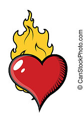 coeur, vecteur, flammes