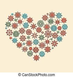 coeur, vecteur, flocons neige, fait