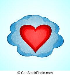 coeur, vecteur, fond, cloud.