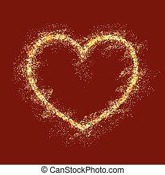 coeur, vecteur, fond, or, rouges