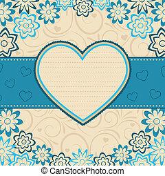 coeur, vecteur, frame., illustration.