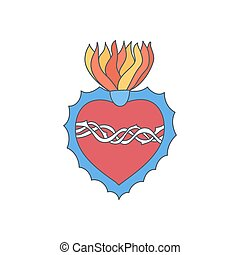 coeur, vecteur, griffonnage, sacré, icône