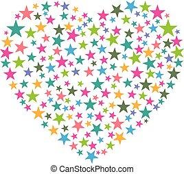coeur, vecteur, illustration., consist, stars.