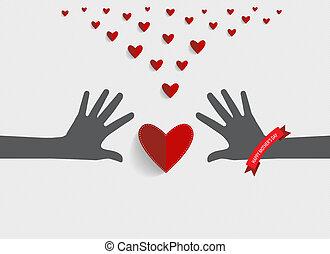coeur, vecteur, illustration., ribbon., heart., papier, tenant mains