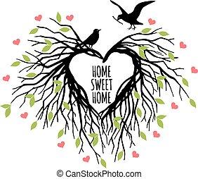coeur, vecteur, nid oiseau, formé