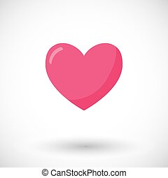 coeur, vecteur, plat, icône