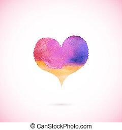 coeur, vecteur, rose, peint
