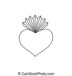 coeur, vecteur, sacré, illustration, griffonnage