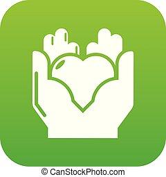 coeur, vecteur, vert, main, icône