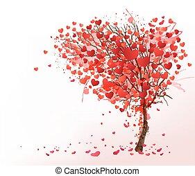 coeur, vector., formé, valentin, arbre., fond