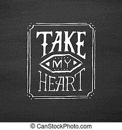 coeur, vendange, typographie, prendre, texte, mon