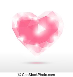 coeur, verre, cristal