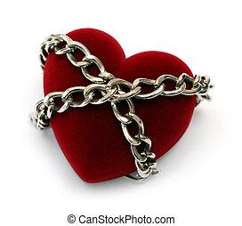 coeur, verrouillé, rouges, chaîne