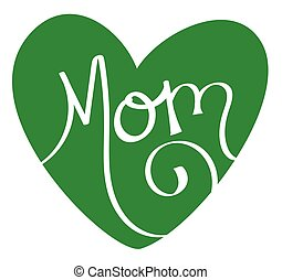 coeur, vert, maman