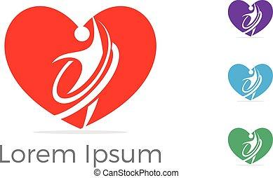 coeur, vie, amour, illustration., concept, soutien, centre, ...