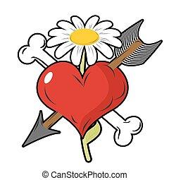 coeur, vie, fleur, amour, symbole, love., perçant, symbole., flèche rouge, mort, logo, death., fort, os