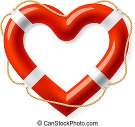 coeur, vie, forme, bouée