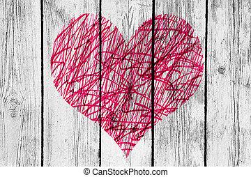coeur, vieux, bois, modèle, résumé, mur, désordre