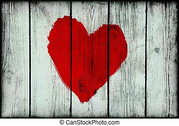 coeur, vieux, bois, résumé, mur, clair, grunge, rouges