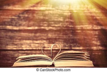 coeur, vieux, bois, vendange, forme, livres, table