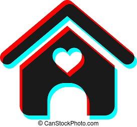 coeur, visuel, maison, effet