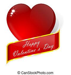 coeur, voeux, rouges, valentin