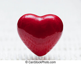 coeur, wicker., symbole, forme, amour, rouges