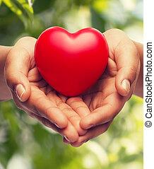 coeur, womans, projection, mains mises coupe, rouges