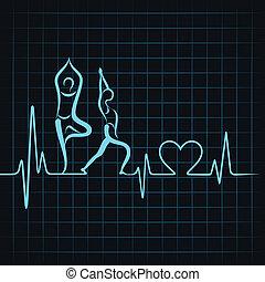 coeur, yoga, &, faire, pulsation, girl