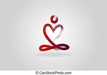 coeur, yoga, logo, amour, homme, icône