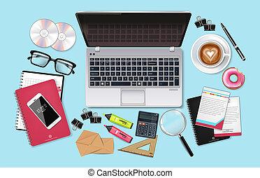 cofee, λεπτομερής , θέτω , επαγγελματική επέμβαση , realistic., συλλογή , laptop , τηλέφωνο , μικροβιοφορέας , γραφείο , διευκρίνιση , εφόδια , 3d