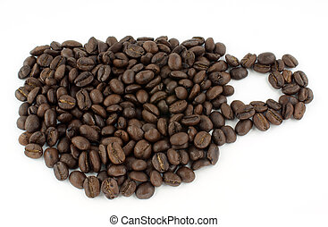 cofee bean as cup against white background