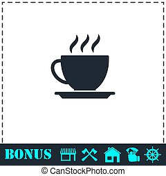 Cofee cup icon flat