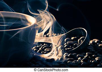 cofee, dobry, powonienie, upieczony, posiew