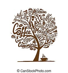 Cofee time. Art tree for your design. Vector illustration