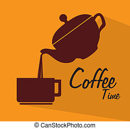 cofee time design over yellow background vector illustration