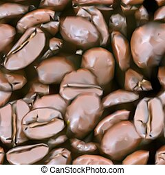 cofee, vetorial, feijões, texture., seamless