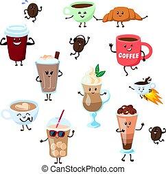 cofeebeans, 平ら, コーヒー, 白, ベクトル, イラスト, 微笑, スタイル, 特徴, 漫画, emoji...