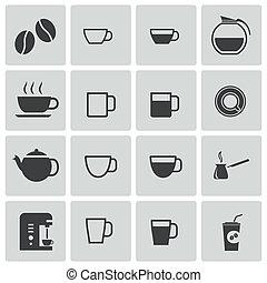 coffe, ベクトル, 黒, セット, アイコン
