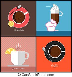 coffe, 項目, カップ, セット, コーヒー