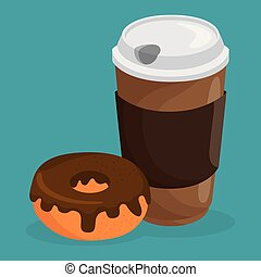 coffe and donut delicious food breakfast menu