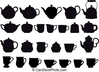 coffee and tea pots with cups, vector design elements