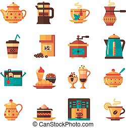 Coffe and Tea Set Icons Flat - Classical tea and coffee...