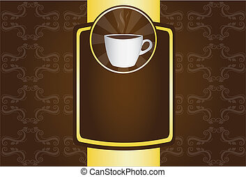 coffe cup, brown and gold cofee background. illustration