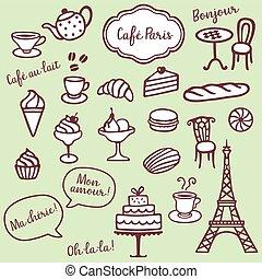 Coffe Bakery and Paris symbols