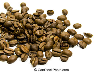 coffe beans close-up on white background