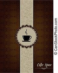 coffe, casa, menú, diseño