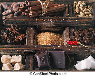 Coffe, chocolate, sugar and spices