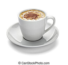 close up of a coffe cup on white background with clipping path